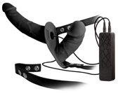 Excellent Power – 'Double Thruster' Vibrerende Voorbind Dildo met Inwendige Dildo voor Dubbel Genot – Zwart