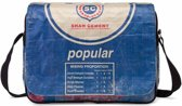 Used2b Koerierstas - Shah - Schoudertas Upcycled - Cement - 38 x 28 cm - Blauw