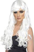 Lange witte pruik met golven voor dames - Verkleedpruik