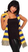 Sjaal gebreid blauw / geel
