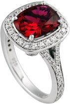 Diamonfire - Zilveren ring met steen Maat 16.0 - Rode rechthoekige steen - Rondom gezet