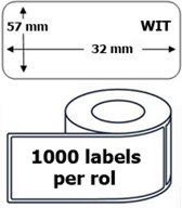 10x Dymo 11354 compatible 1000 labels  / 57 mm x 32 mm / wit / papier