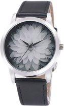 Fako Bijoux® - Horloge - Bloem - Zwart