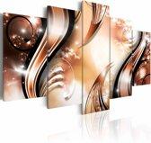 Schilderij - Krullen, Oranje/Bruin, 2 Maten, 5luik