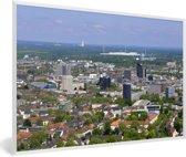 Foto in lijst - Uitzicht over de Duitse stad Dortmund fotolijst wit 60x40 cm - Poster in lijst (Wanddecoratie woonkamer / slaapkamer)