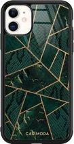 iPhone 11 glazen hardcase - Abstract groen