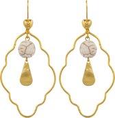 Scmyk oorbellen EG-202 Steamy Cream - goudkleurig - 6,5 cm