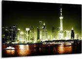 Canvas schilderij Nacht   Groen, Bruin, Zwart   140x90cm 1Luik