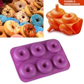 SupplyU Hoogwaardige Siliconen Donutvorm / Mal- Donut Bakvorm - Goede Kwaliteit - Anti Kleeflaag - 6 Donuts - Zelf Donuts Bakken - 27 x 18 x 4 CM - Paars