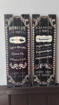 Woondecoratie - wanddecoratie - muurdecoratie - hout - keuken - bistro - boulangerie - Frans - 20 x 60 cm