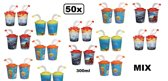 50x 3D-Drinkbeker incl. deksel 300ml assortie
