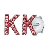 Lucardi Zilveren oorbellen Initialen K - Meisjes - Roze kristal
