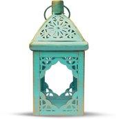 Lantaarn Goud Turquoise 22 cm