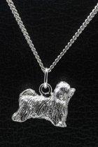 Zilveren Tibetaanse terrier ketting hanger - groot