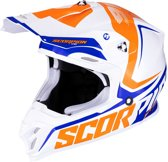 Scorpion Crosshelm VX-16 Ernee Pearl White/Orange/Blue-M