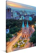 Kleuren in de Vietnamese stad Ho Chi Minhstad Canvas 120x180 cm - Foto print op Canvas schilderij (Wanddecoratie woonkamer / slaapkamer) / Aziatische steden Canvas Schilderijen XXL / Groot formaat!