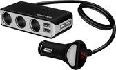 Auto Sigarettenaansteker - 4 Poorten USB Splitter - Autolader USB - Autolader Splitter - 3 Way Sigarettenaansteker - Autoaccesoires
