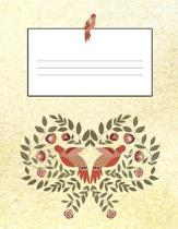 Flowers & Birds Yellow 8.5 x 11 150 Pages Journal Notebook