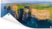 Luchtfoto van de Ierse Kliffen van Moher Tuinposter 160x80 cm - Tuindoek / Buitencanvas / Schilderijen voor buiten (tuin decoratie)