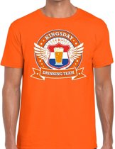 Oranje Kingsday drinking team t-shirt / t-shirt oranje heren -  Koningsdag kleding 2XL