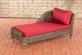 Clp Moss - Chaise longue - Poly-rotan - Rotan kleur : grijs gemêleerd, overtrek robijnrood