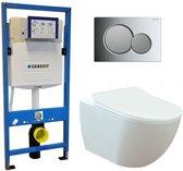 Geberit UP 320 Toiletset - Inbouw WC Hangtoilet Wandcloset - Creavit Mat Wit Geberit Sigma-01 Chroom/Mat Chroom