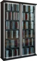 Vitrinekast - verzamelkast Galerie met glasdeuren (Zwart)