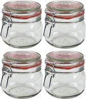 4x Weckpot/inmaakpot 500 ml met rode rubberen ring, klepdeksel en beugelsluiting - Weckpotten - Inmaakpotten - Voorraadbussen