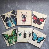 Onderzetters Vlinders en Torren. Set van 6. 10x10 cm.