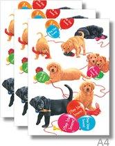 3x dubbele A4 kaart met envelop - Francien   - Hiep hiep hoera   - Honden - Formaat: 210 x 297mm