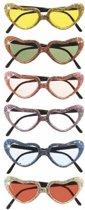Hartvormige bril met glitters  Blauw