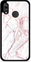Huawei P20 Lite Hardcase Hoesje White Pink Marble