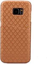 Shop4 - Samsung Galaxy S7 Edge Hoesje - Harde Back Case met Opbergvak Rhombus Series Goud