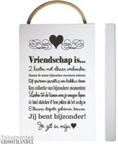 S131 Wit Vriendschap steigerhouten tekstbord.
