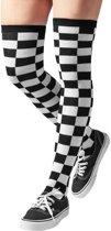 Checkerdboard overknee dames lange sokken zwart/wit - 36/39 - Urban Classics