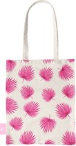 BEACHLANE - Katoenen tasje - Canvas Tote Bag Shopper - Pink leaves / Roze bladeren print - Schoudertas / Boodschappen tas