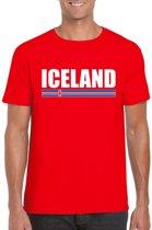 Rood IJsland supporter t-shirt voor heren - IJslandse vlag shirts L