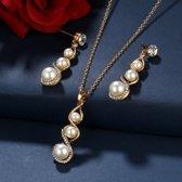 Fashionidea – mooie goudkleurige parel ketting met schitterende zirkonia en bijpassend oorbellen set
