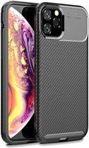 Apple iPhone 11 Pro Siliconen Carbon Hoesje Zwart