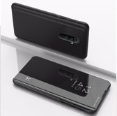 Let op type!! Voor Xiaomi Redmi Note 8 Pro plating spiegel horizontaal Flip leer met beugel holster (zwart)
