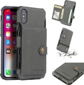 Let op type!! For iPhone XS Max Brushed Texture Shockproof PU + TPU Case  with Card Slots & Wallet & Photo Frame(Grey)