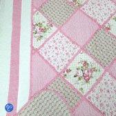 Quilt 1 Persoons.Lavandoux Bedsprei Quilt Roze Patchwork 140x200 1 Persoons