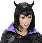 Zwarte hoorntjes voor volwassenen Halloween - Verkleedattribuut