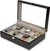 LifeGoods Luxe Horloge Doos - Opberg box met Glazen Deksel - Kist met 12 Houders/Compartimenten - Dames en Heren - Hout - Zwart