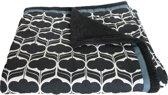 zwart witte deken/plaid retro met zwarte fleece 190x150 cm