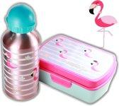 Flamingo broodtrommel + aluminium drinkfles Roze   Lunchbox meisje LS09