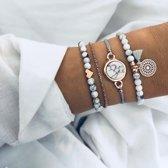 Set Armbanden Marble | 4 - delig | Goudkleurig | 18 cm