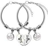 BFF sisters bedel armband 2 stuks| no matter where | hart | zusjes | love | bedelarmband