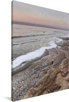 Zonsopgang boven het strand bij de Aziatische Dode Zee Canvas 20x30 cm - klein - Foto print op Canvas schilderij (Wanddecoratie woonkamer / slaapkamer)