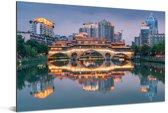 Weerspiegeling van Chengdu op het water Aluminium 120x80 cm - Foto print op Aluminium (metaal wanddecoratie)